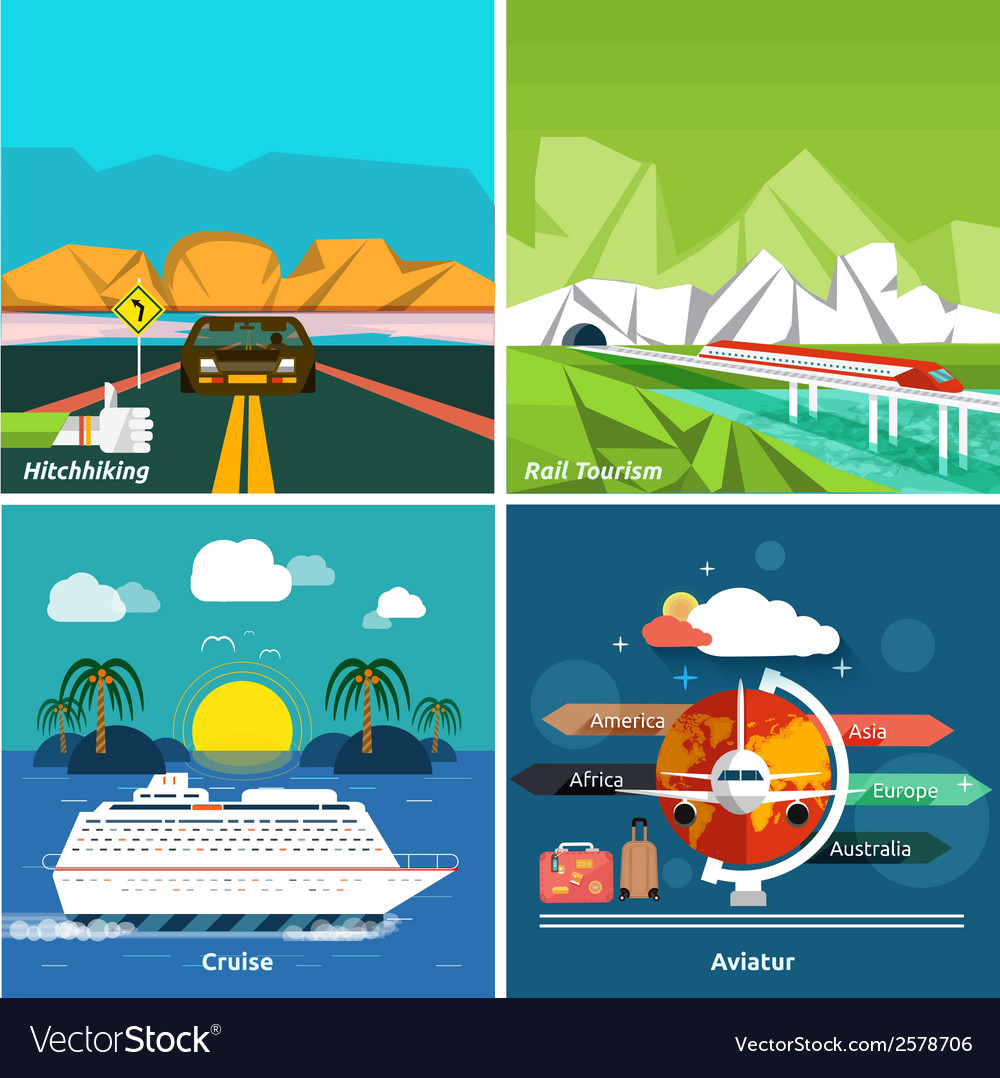 Icons set of traveling and planning a vacation vector | Price: 1 Credit (USD $1)