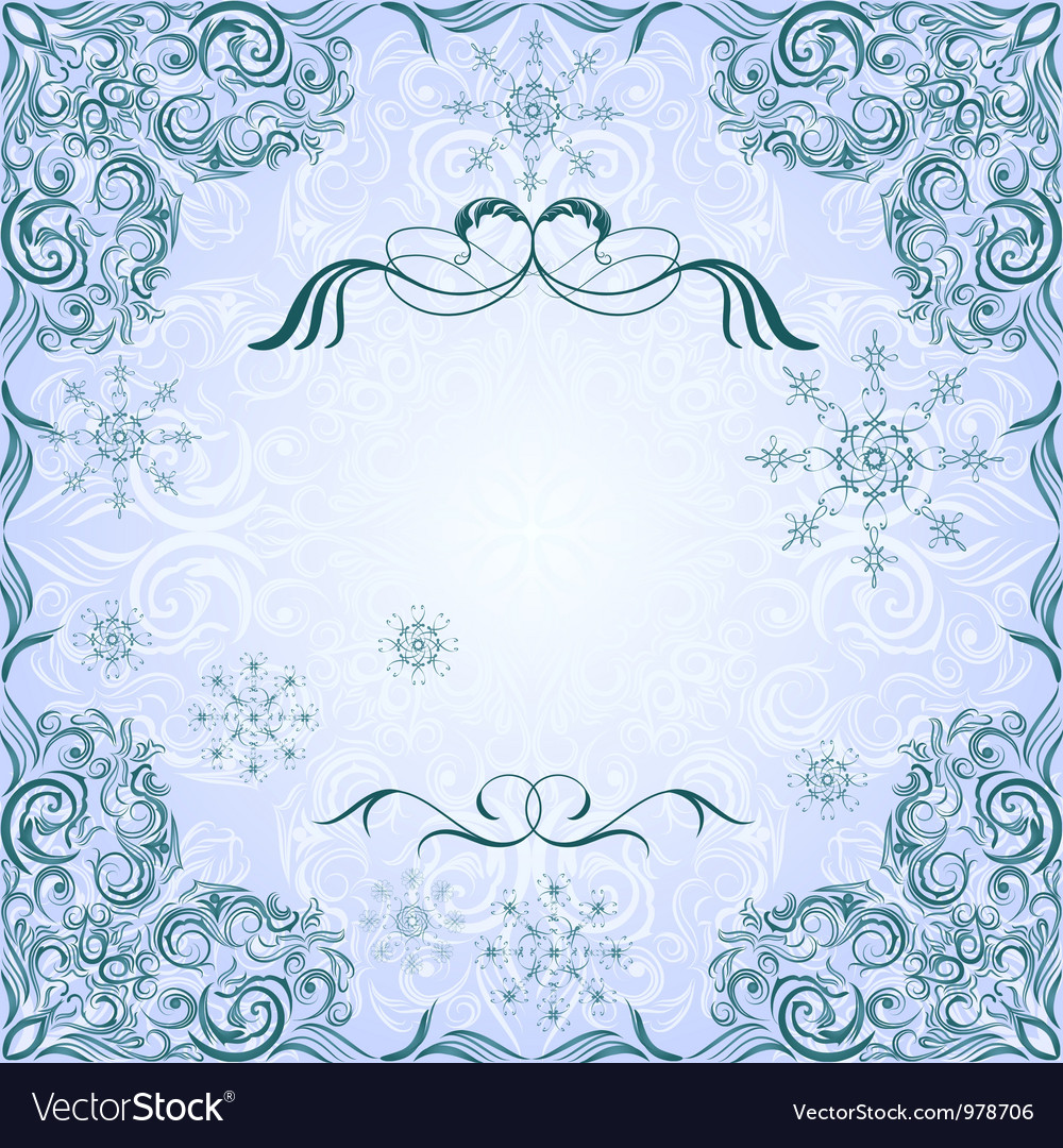 Romantic frosty vintage invitation for winter vector | Price: 1 Credit (USD $1)