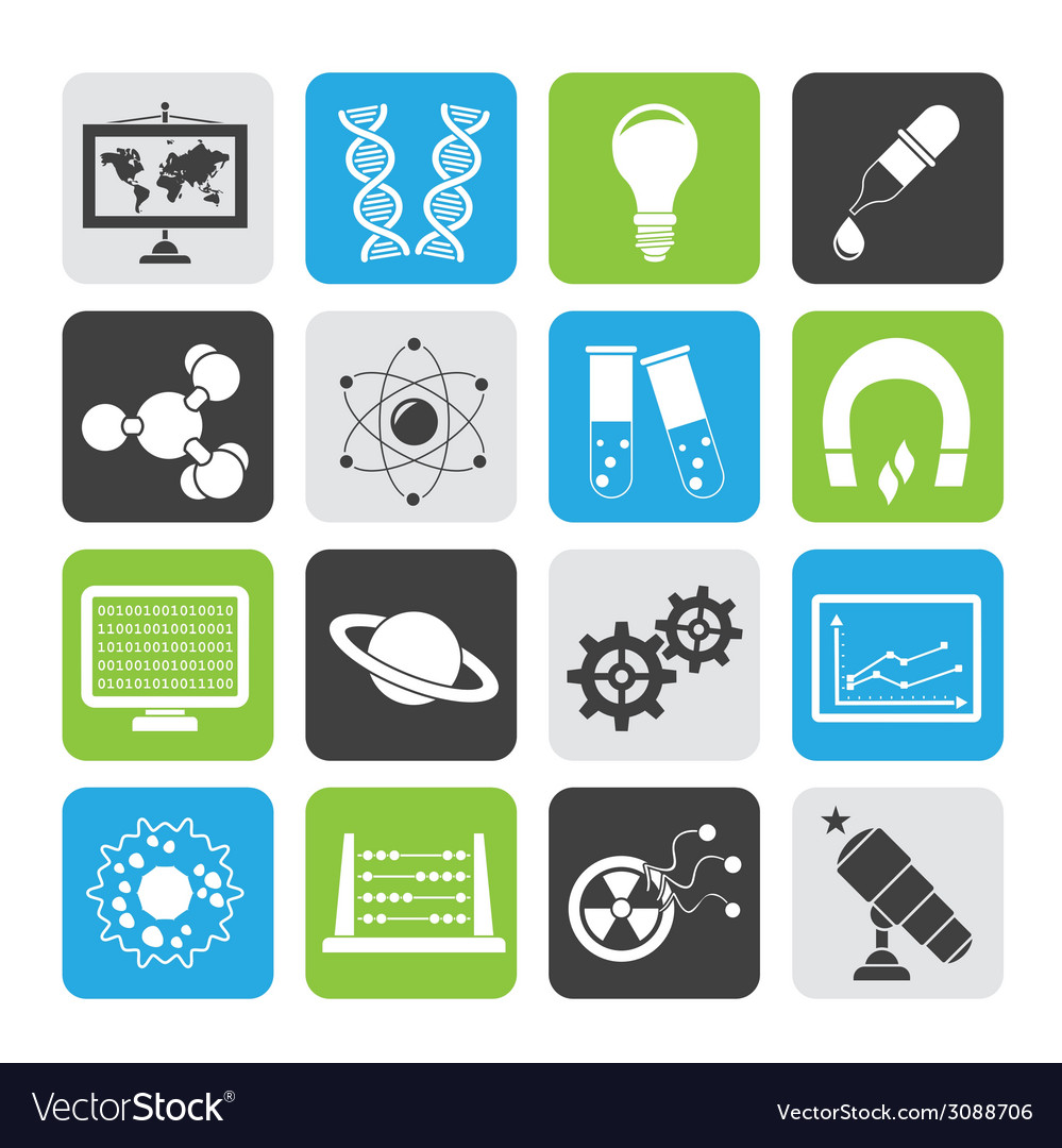 Silhouette science and education icons vector | Price: 1 Credit (USD $1)