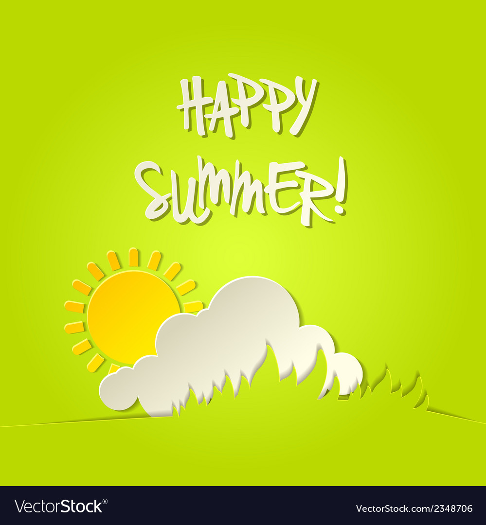 Sunny happy summer bacground card vector | Price: 1 Credit (USD $1)