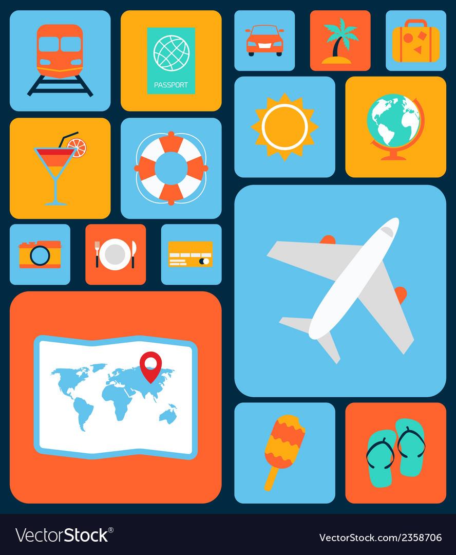 Travel icons flat set vector   Price: 1 Credit (USD $1)