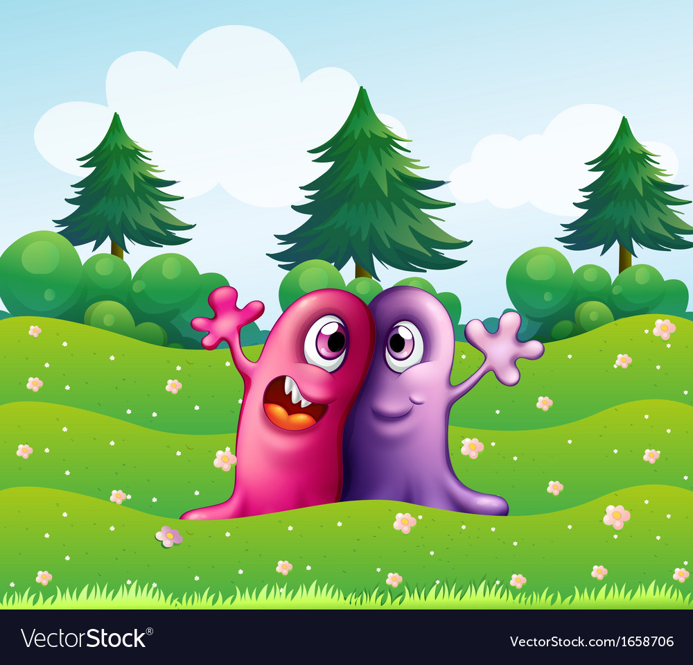 Two adorable one-eyed monsters near the pine trees vector | Price: 3 Credit (USD $3)