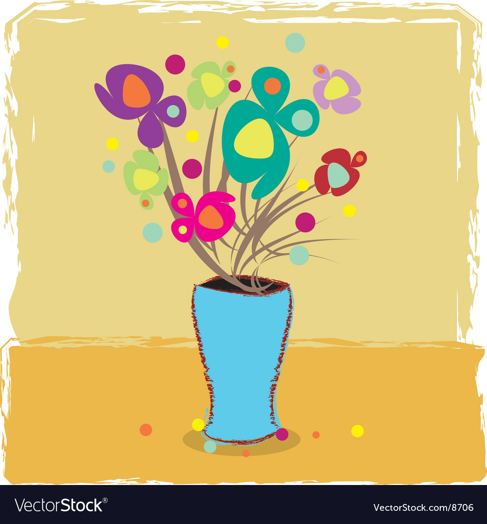 Vase with flowers vector | Price: 1 Credit (USD $1)