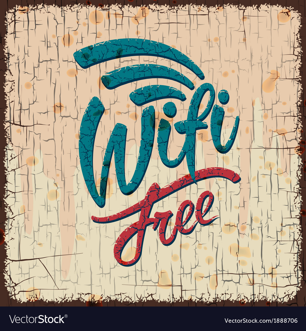 Vintage sign with free wifi symbol vector | Price: 1 Credit (USD $1)