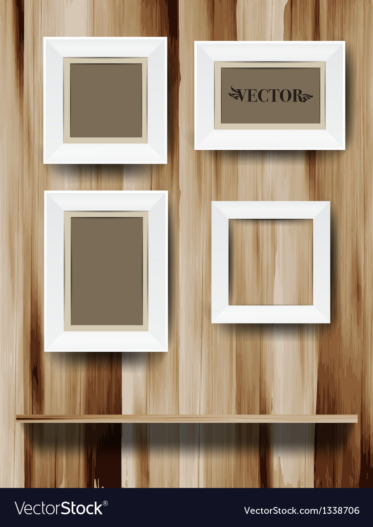 White modern frames on the wood wall vector | Price: 1 Credit (USD $1)