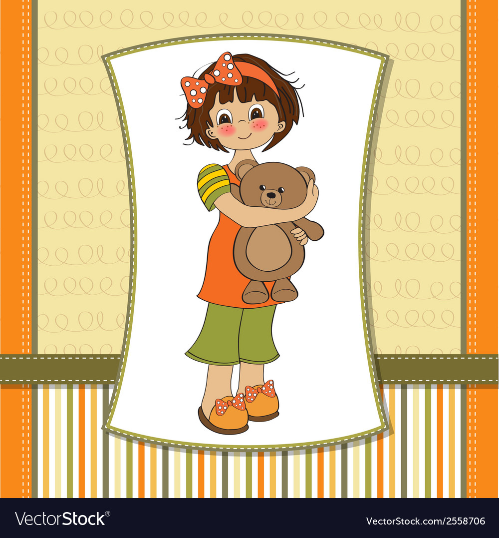 Young girl going to sleep with her favorite toy a vector | Price: 1 Credit (USD $1)