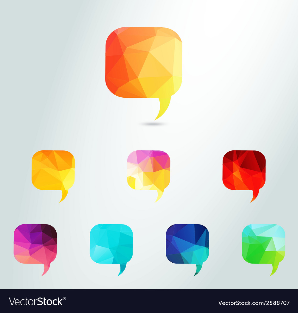Abstract colour triangle speech bubbles set vector | Price: 1 Credit (USD $1)