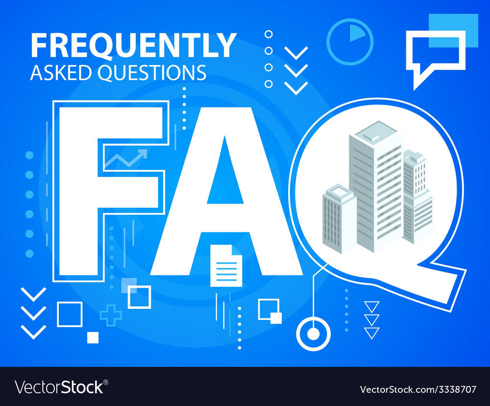 Bright faq and buildings on blue background vector | Price: 3 Credit (USD $3)