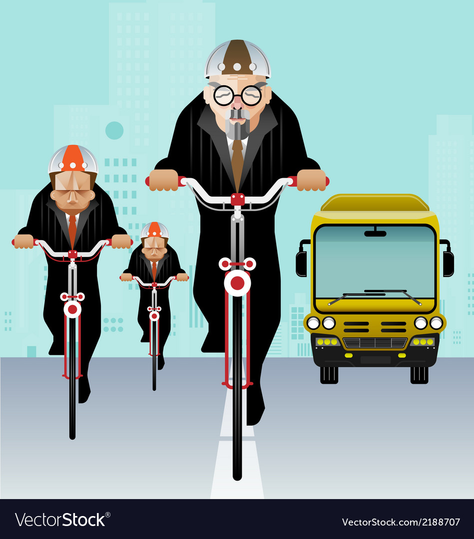Businessman riding bicycle to work vector | Price: 1 Credit (USD $1)