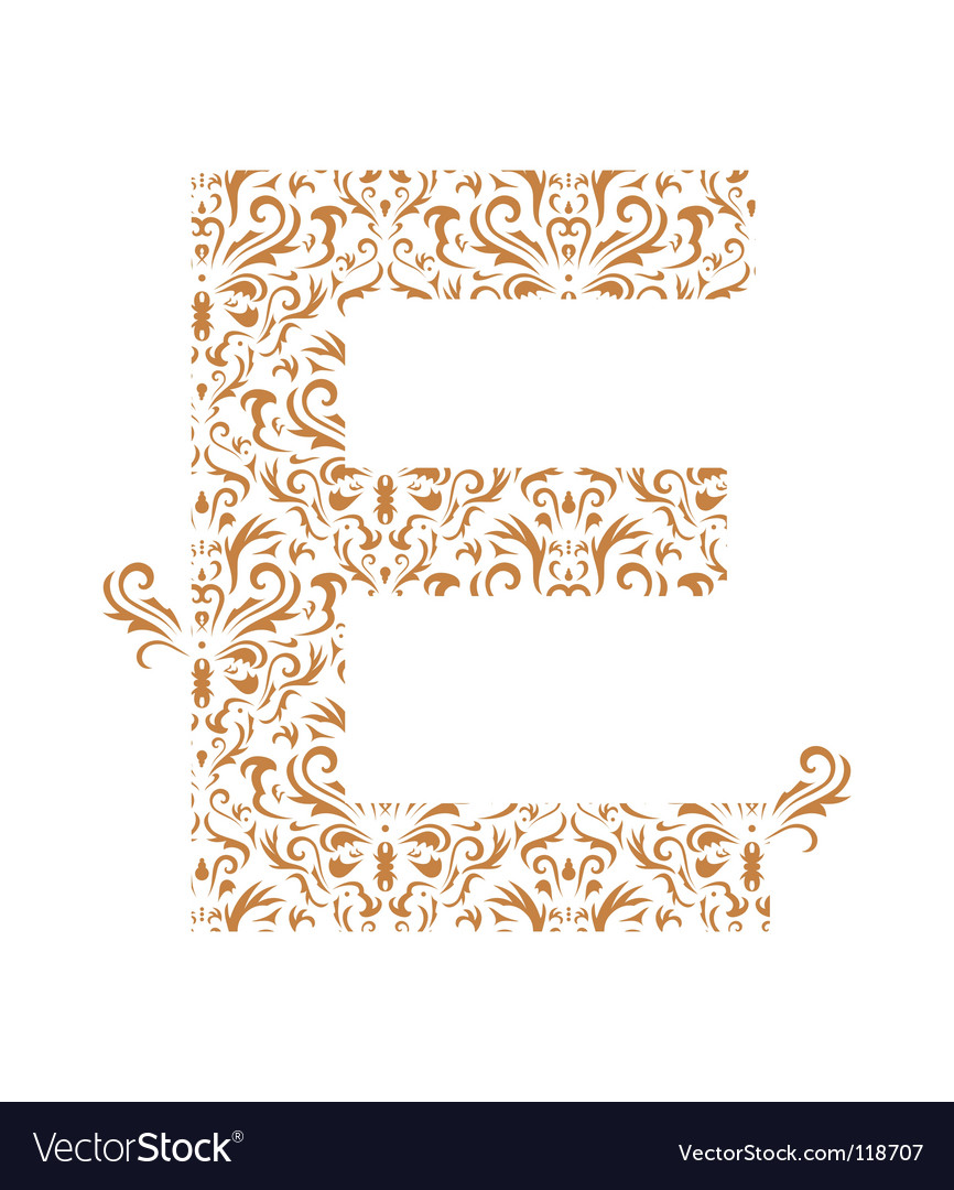 Floral letter e ornament font vector | Price: 1 Credit (USD $1)