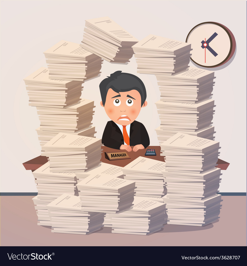 Hard working evening in office vector | Price: 1 Credit (USD $1)