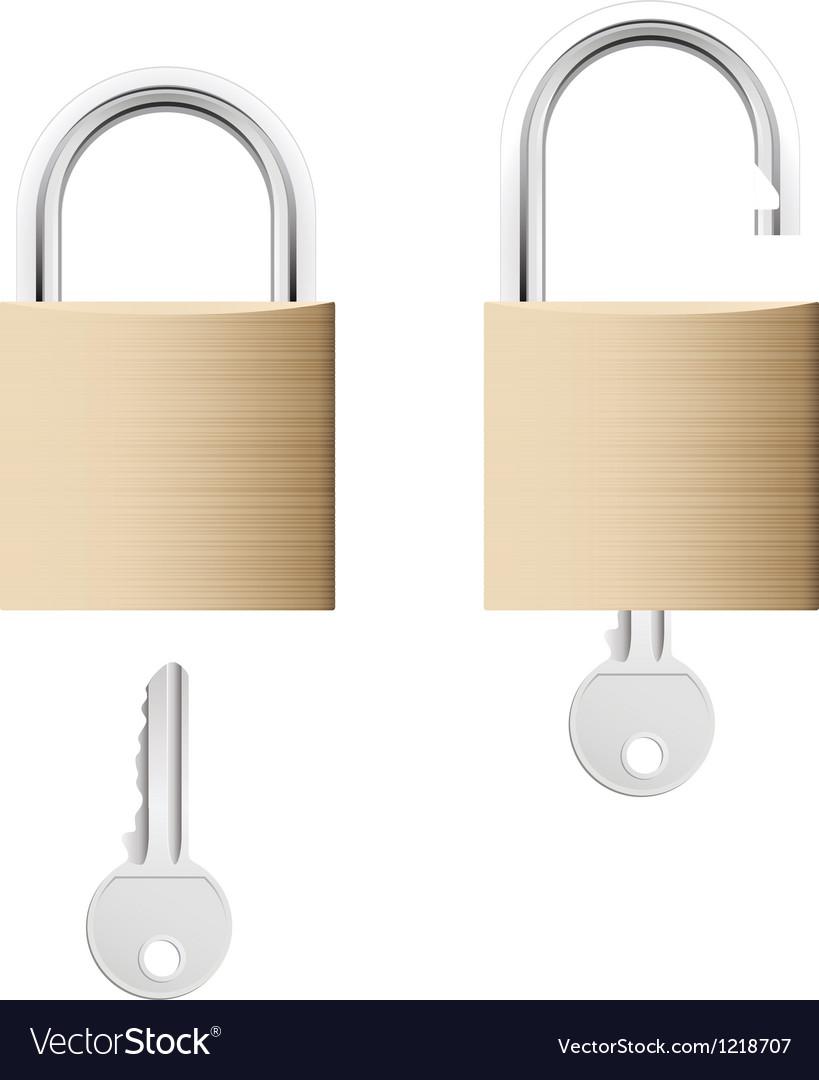 Locked and unlocked gold locks with keys vector | Price: 1 Credit (USD $1)