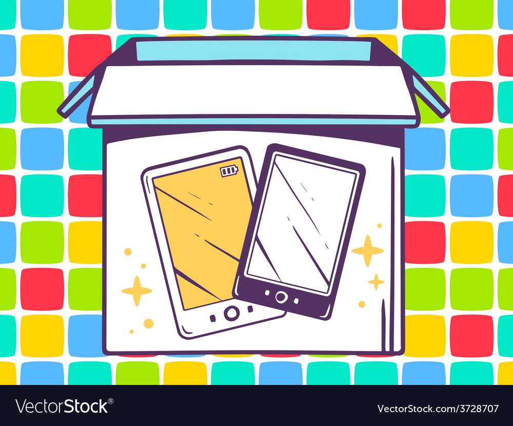 Open box with icon of phone on color pat vector | Price: 1 Credit (USD $1)