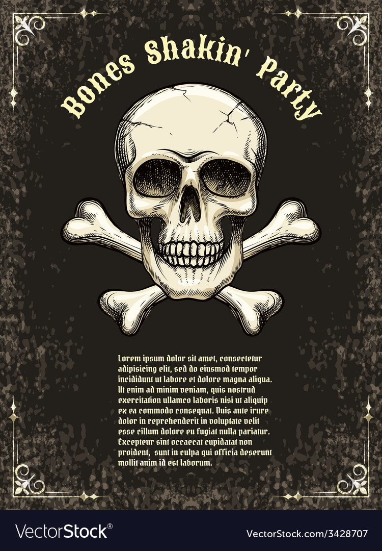 Skull frame poster template vector | Price: 1 Credit (USD $1)