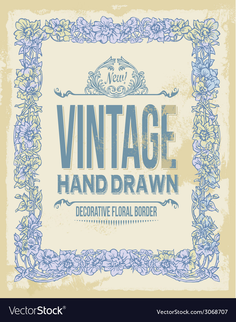 Vintage hand drawn floral decorative border vector | Price: 1 Credit (USD $1)