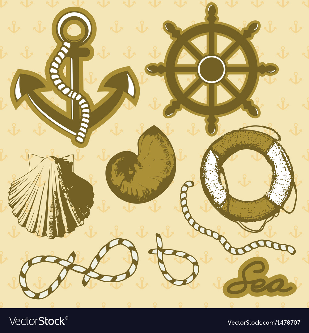 Vintage marine elements set includes anchor rope vector | Price: 1 Credit (USD $1)