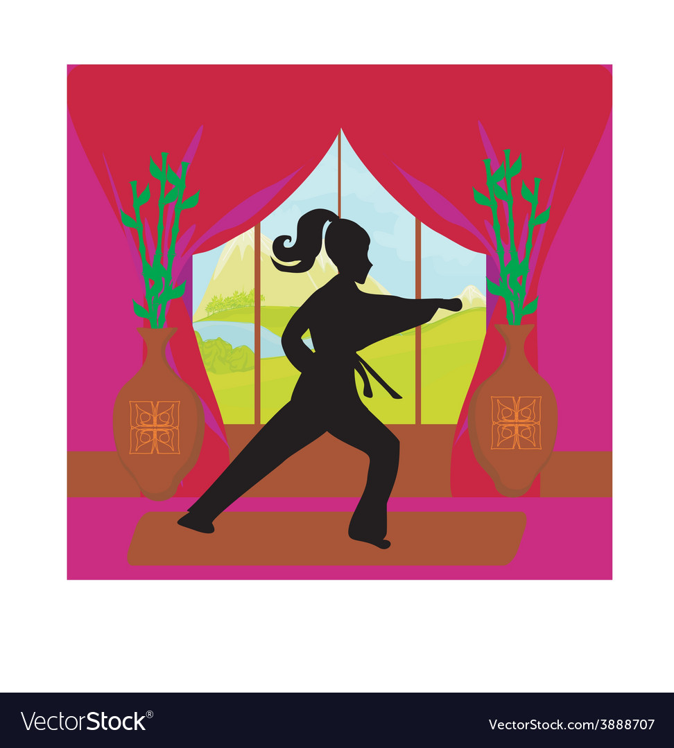 Young woman training karate vector | Price: 1 Credit (USD $1)