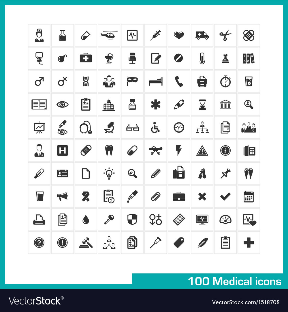 100 medical icons vector | Price: 3 Credit (USD $3)