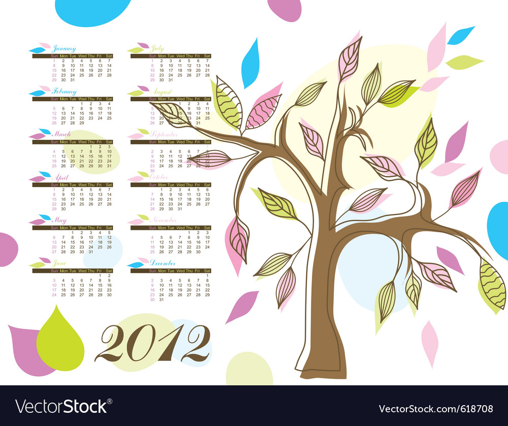 Abstract tree calendar 2012 vector | Price: 1 Credit (USD $1)
