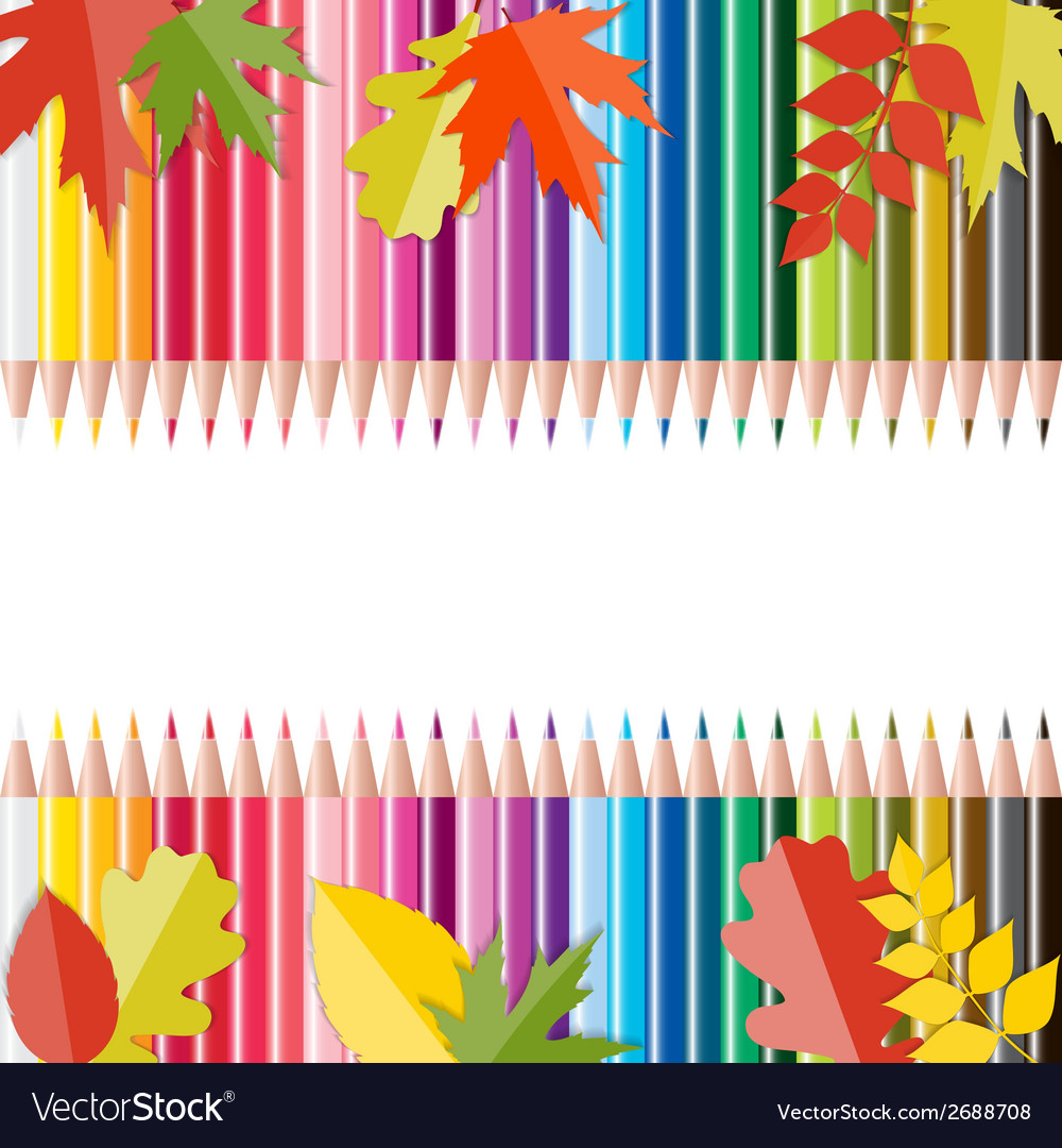 Back to school background with leaves and pencils vector | Price: 1 Credit (USD $1)