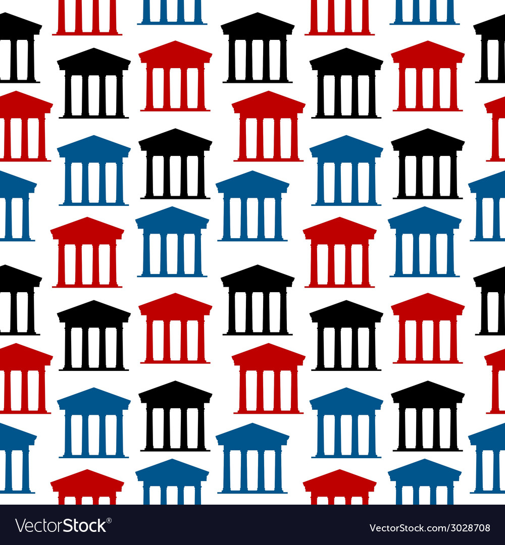 Bank icon seamless pattern vector | Price: 1 Credit (USD $1)