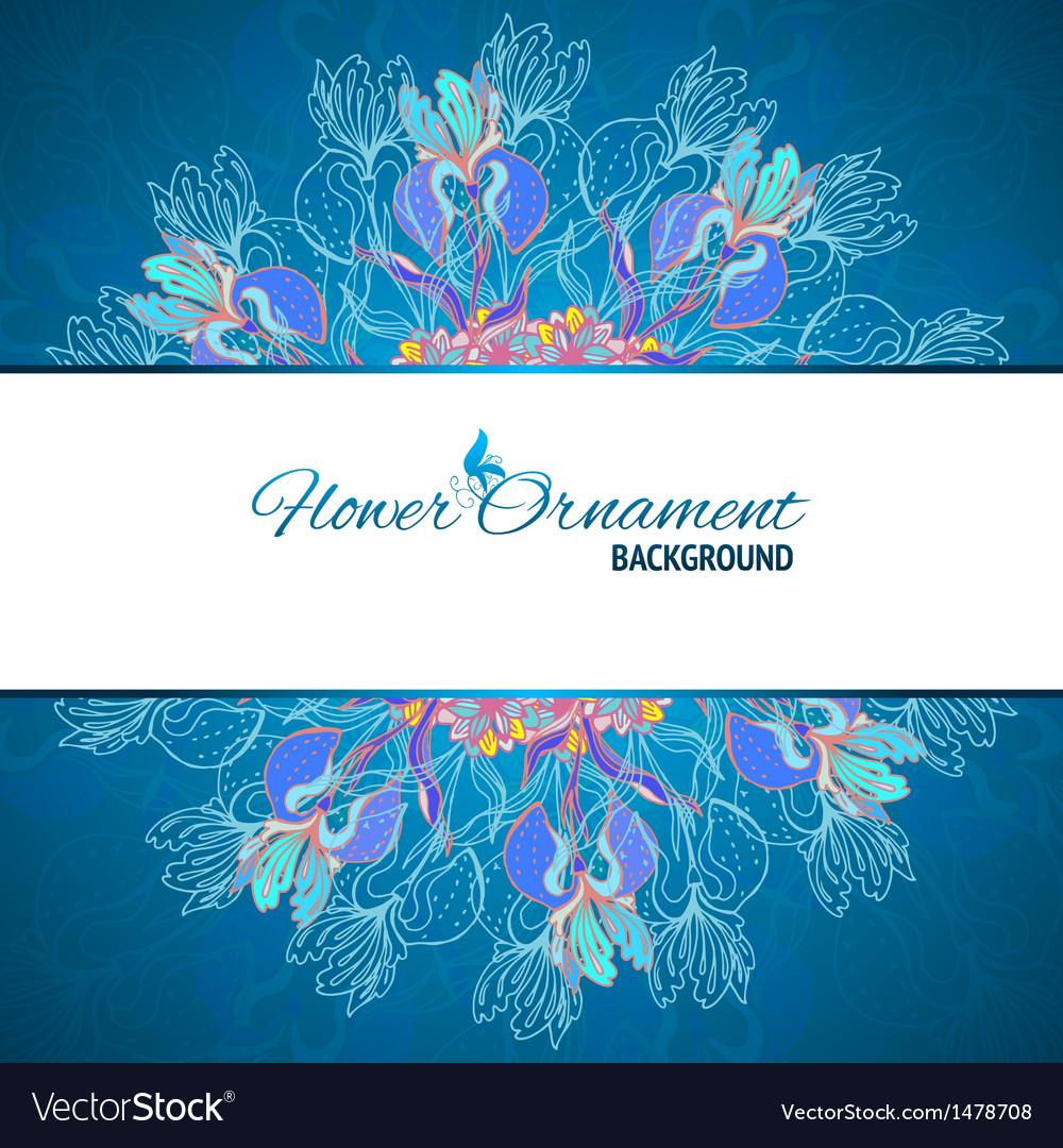 Blue floral ornament mandala background card vector | Price: 1 Credit (USD $1)