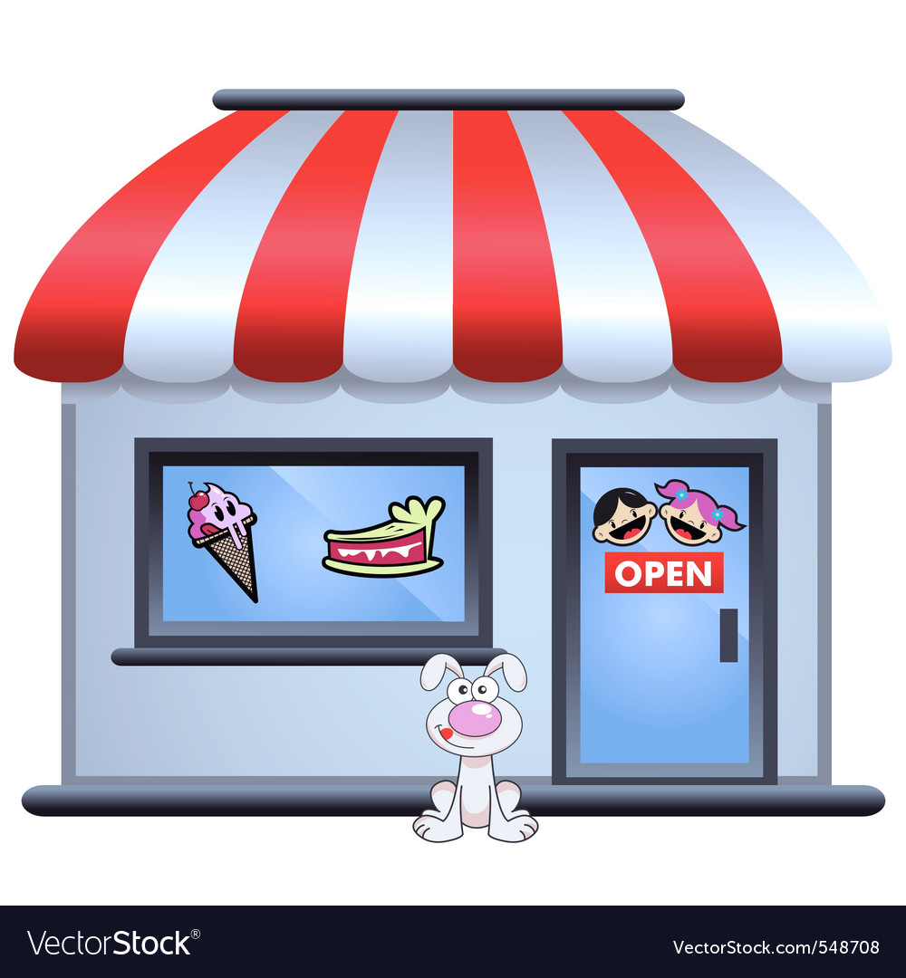 Candy store with puppy in front vector | Price: 1 Credit (USD $1)