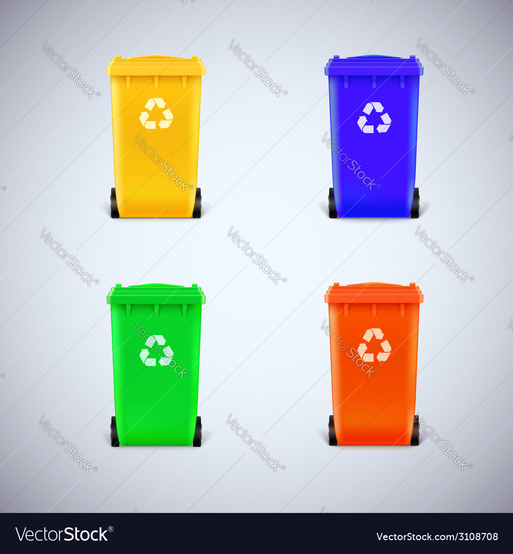 Colored waste bins with the lid closed vector | Price: 1 Credit (USD $1)