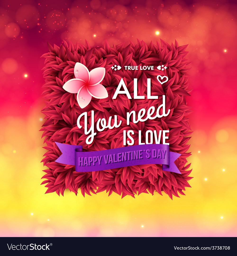 Colorful all you need is love valentines card vector | Price: 1 Credit (USD $1)