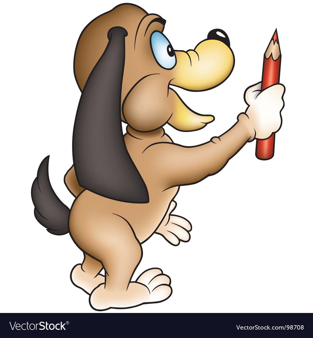 Dog and crayon vector   Price: 1 Credit (USD $1)