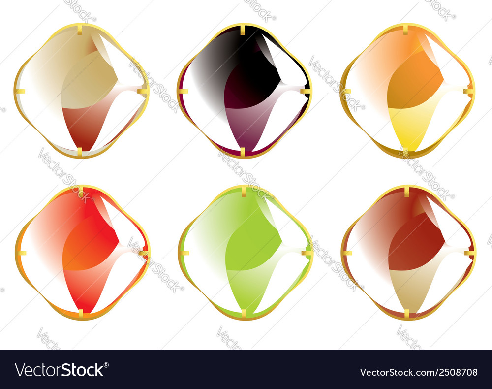 Faceted gemstones with gold fastener vector | Price: 1 Credit (USD $1)
