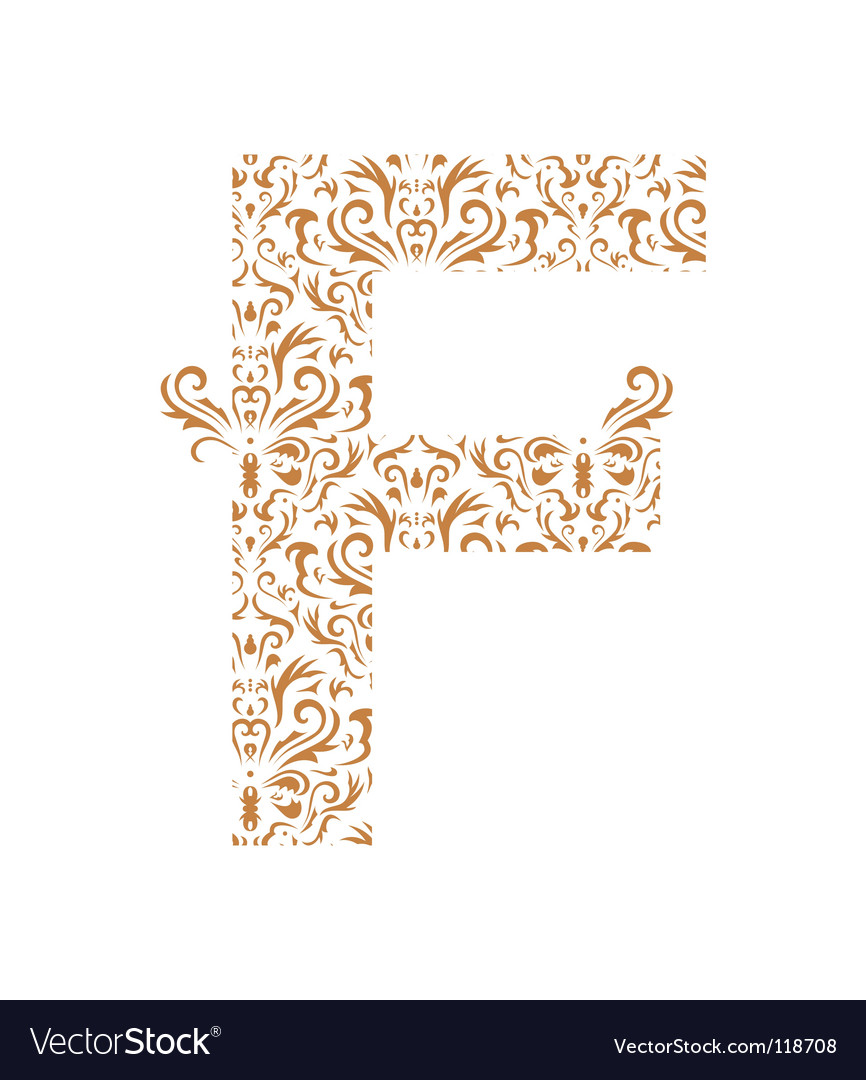 Floral letter f ornament font vector | Price: 1 Credit (USD $1)