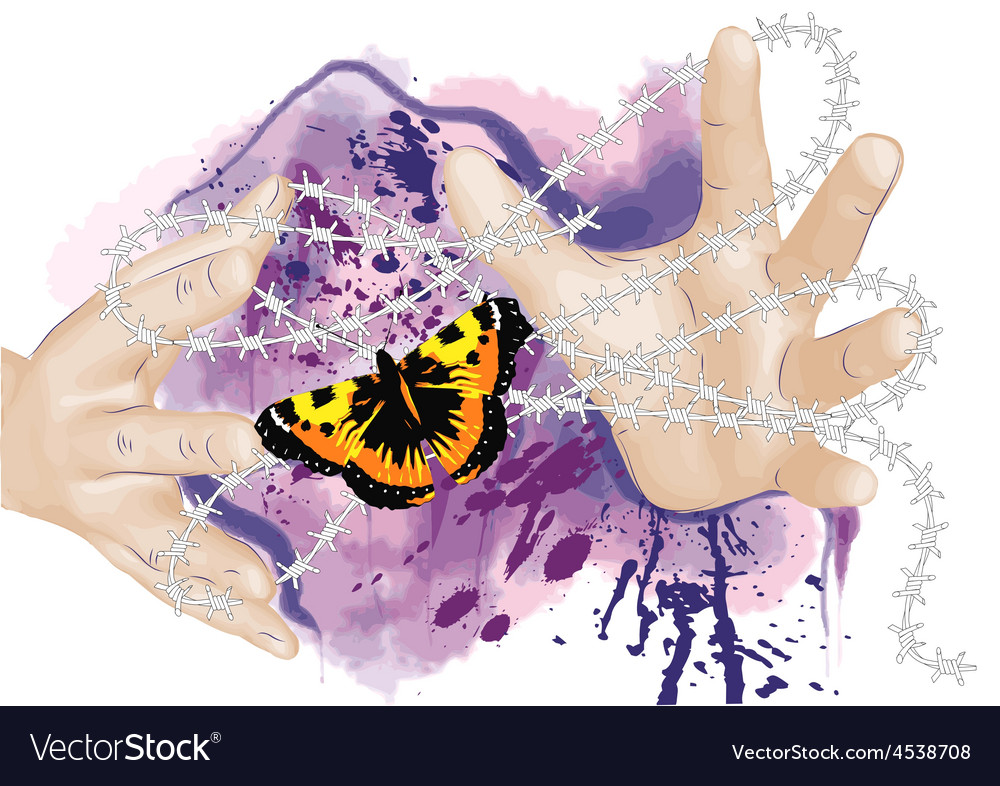 Hands and butterfly vector | Price: 1 Credit (USD $1)