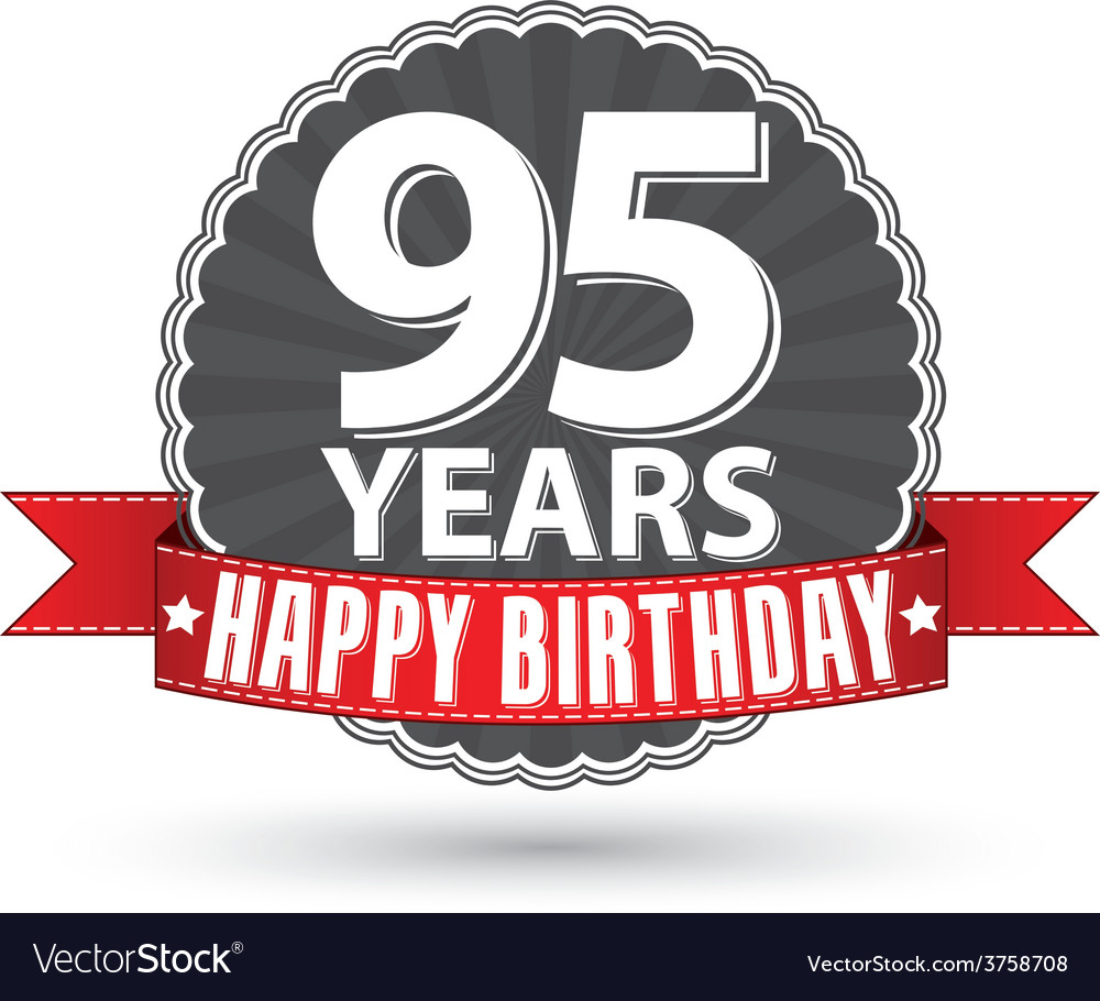 Happy birthday 95 years retro label with red vector | Price: 1 Credit (USD $1)