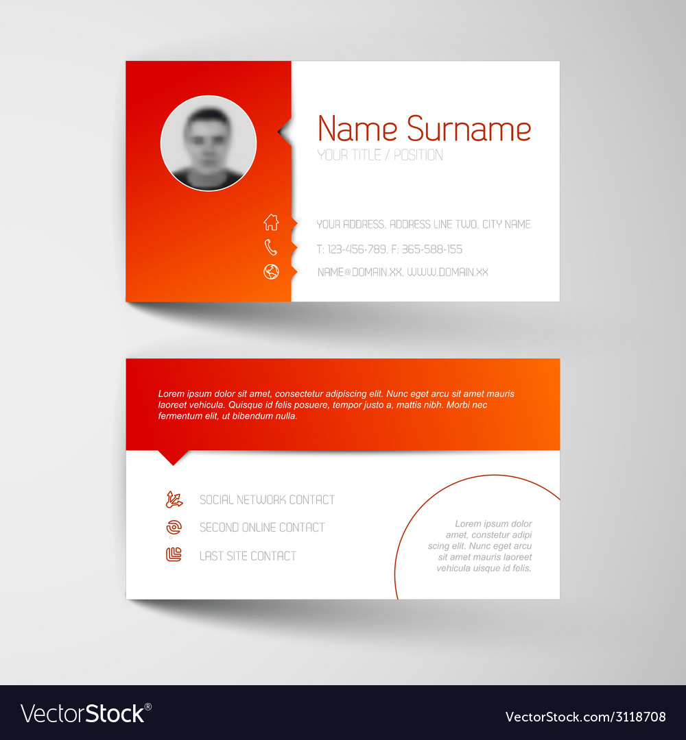 Modern white and red business card template vector | Price: 1 Credit (USD $1)