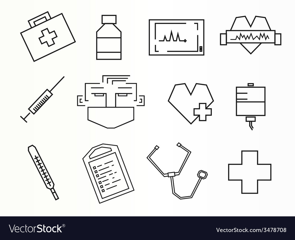 Rectangular style medical icons set vector | Price: 1 Credit (USD $1)