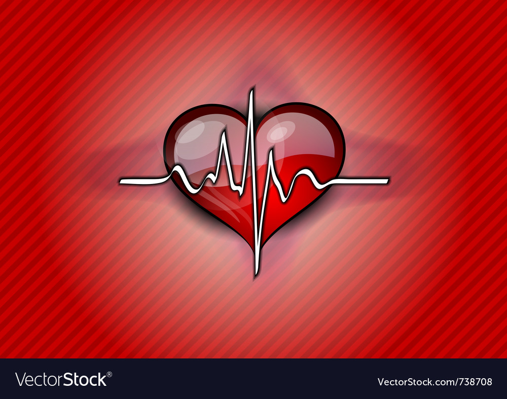Red heart with pulse rhythm vector | Price: 1 Credit (USD $1)
