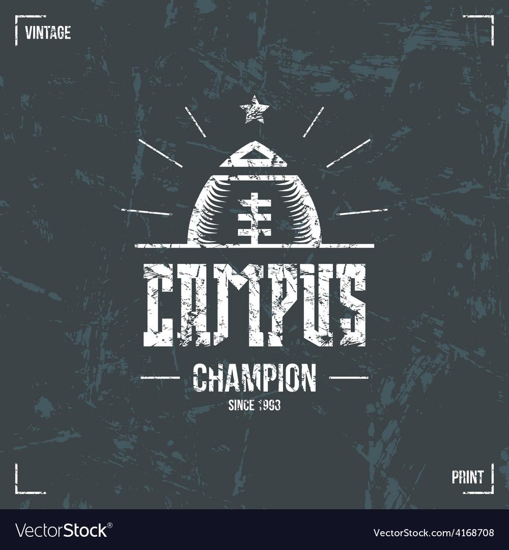 Rugby campus team emblem vector | Price: 1 Credit (USD $1)