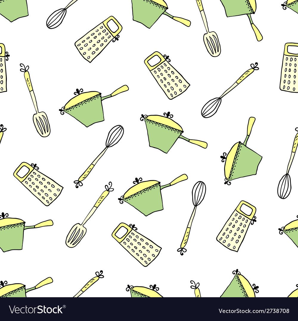 Seamless cute pattern with kitchen items vector | Price: 1 Credit (USD $1)