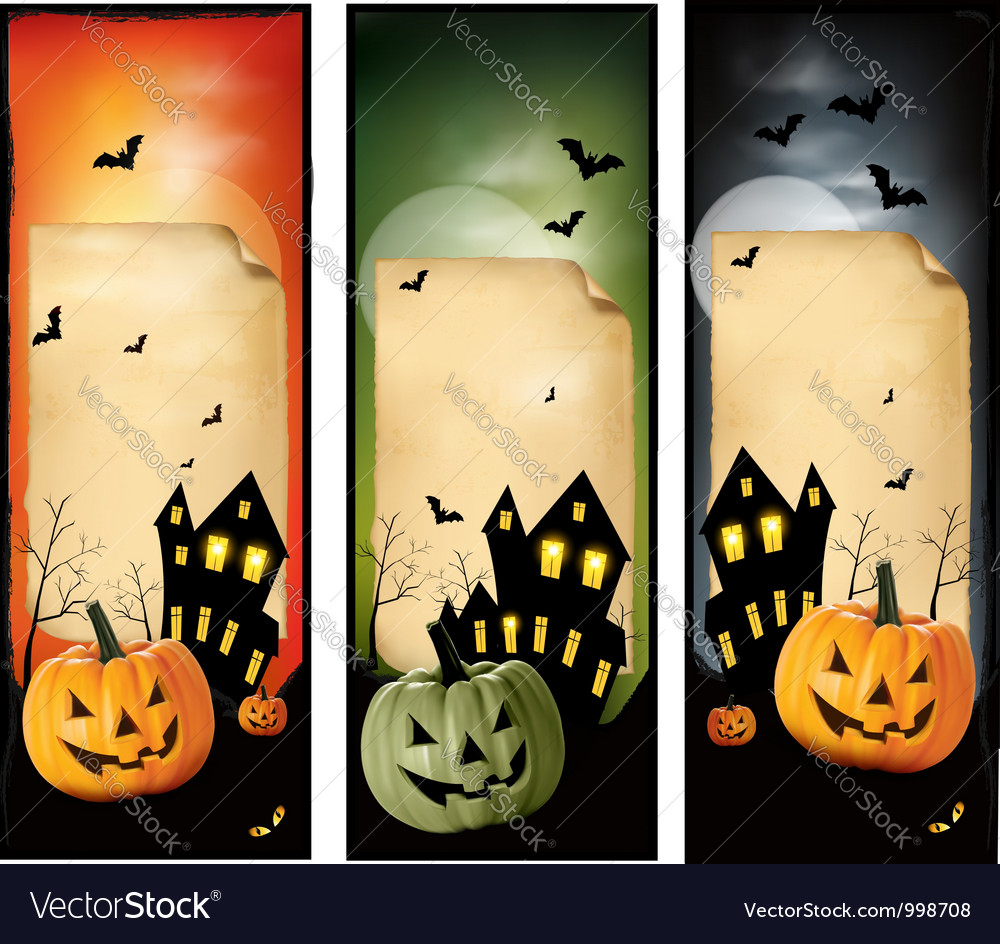 Three halloween banners vector | Price: 1 Credit (USD $1)