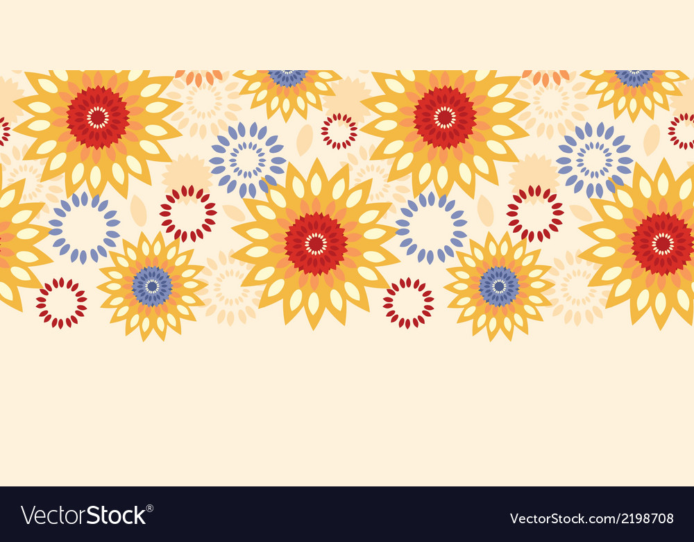 Warm vibrant floral abstract horizontal seamless vector | Price: 1 Credit (USD $1)