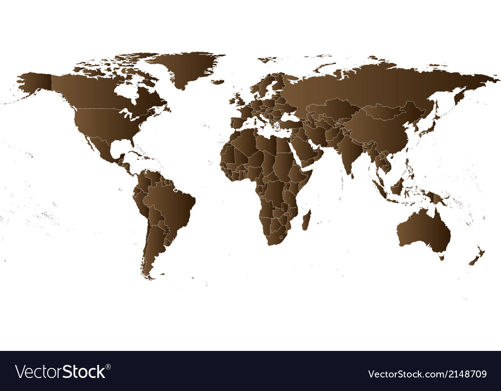 Brown political world map vector | Price: 1 Credit (USD $1)