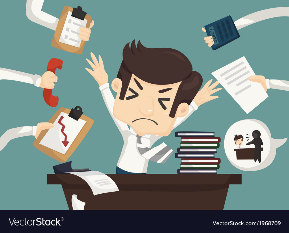 Businessman work hard and busy vector | Price: 1 Credit (USD $1)
