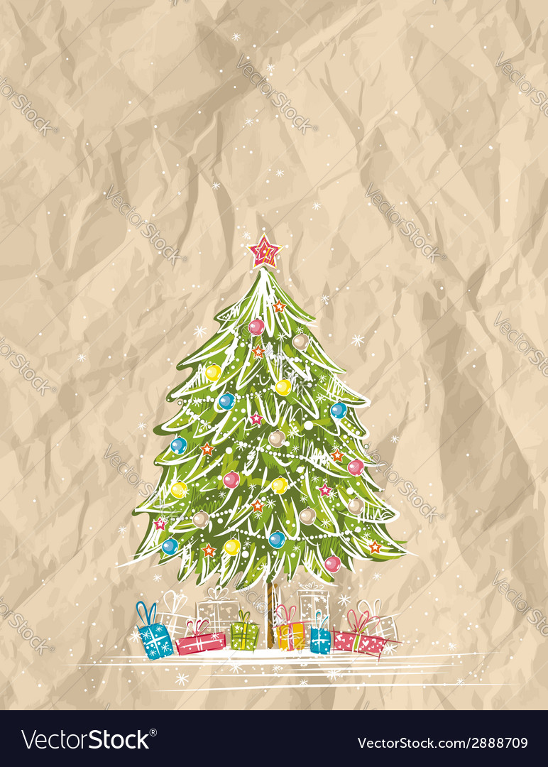 Christmas tree over crumple background vector | Price: 1 Credit (USD $1)