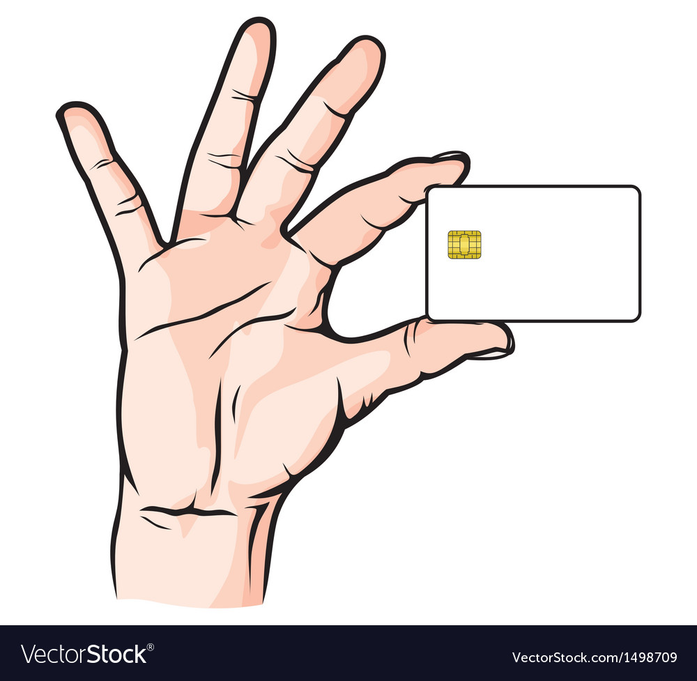 Credit card in hand vector | Price: 1 Credit (USD $1)