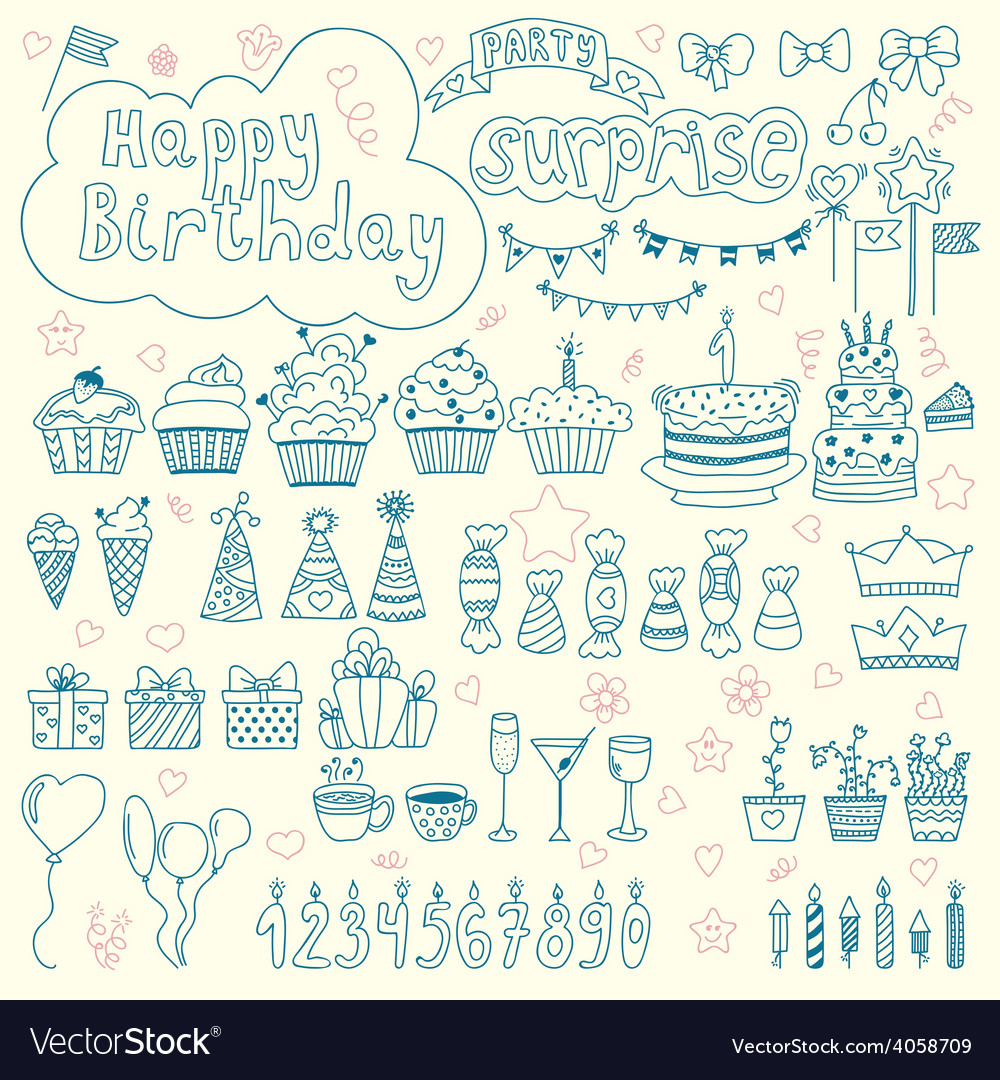 Hand drawn birthday elements birthday party vector | Price: 1 Credit (USD $1)