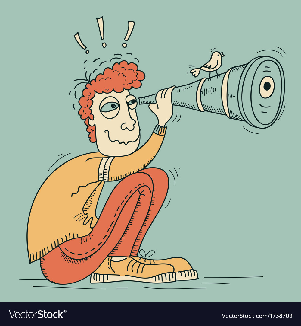 Looking through a telescope young man vector | Price: 1 Credit (USD $1)