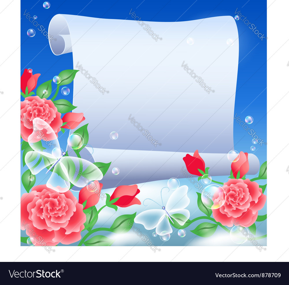 Parchment and flowers vector | Price: 1 Credit (USD $1)