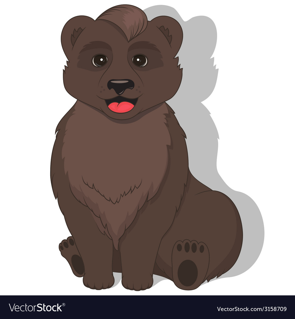 Sitting bear on white background vector | Price: 1 Credit (USD $1)