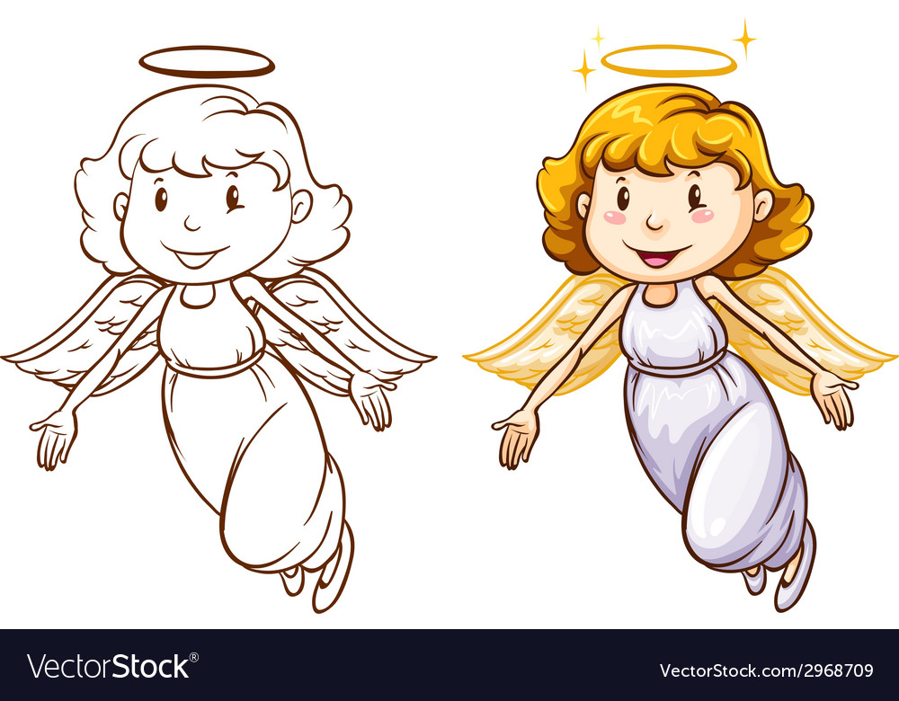 Sketches of angels in different colors vector | Price: 1 Credit (USD $1)
